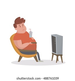 Fat man sitting on the couch and watching TV. Vector Illustration