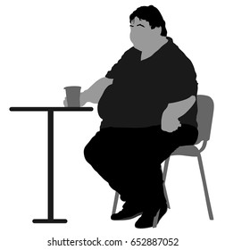 Fat man sitting vector silhouette isolated on white background. Over weight person drinking in restaurant. Healthcare concept.