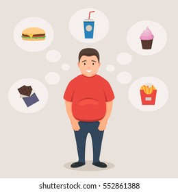 Fat man smiles and dreams of unhealthy food, sweets and drinks. Concept of bad habits. Vector illustration in flat style