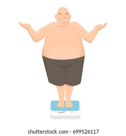 Fat man stands on bathroom scale