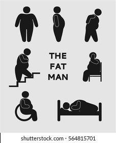 fat man, stick figure set, simple icons, illustration of consequences of obesity, isolated silhouettes
