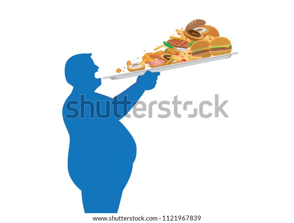 Fat man try to devour a lot of junk food in one time with lifting a tray. Illustration about overeating.