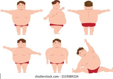 fat man in various poses, frames, vector graphics