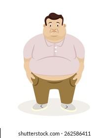 Fat man. Vector flat illustration