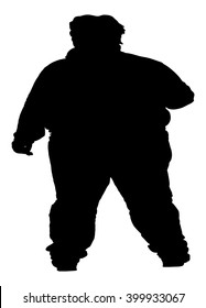 Fat man vector silhouette isolated on white background.
