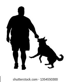 Fat man walking with dog vector silhouette. Health care outdoor activity. Overweight person trouble. German Shepherd running and playing with owner.Big boy think about food calorie. Difficult moving.