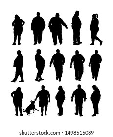 Fat man walking health care activity vector silhouette. Overweight person trouble. Big boy think about food. Difficult in moving. Breathless sweaty fat boy need break. Big belly. Fat couple. Fat woman