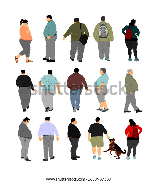 Fat Man Walking Health Care Activity Stock Vector Royalty Free 1659937339