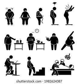 Fat man weight loss exercise diet and healthy lifestyle to become slimmer. Vector illustrations depict an obese man on weight scale, wearing pants, eating healthy diet, and exercising.