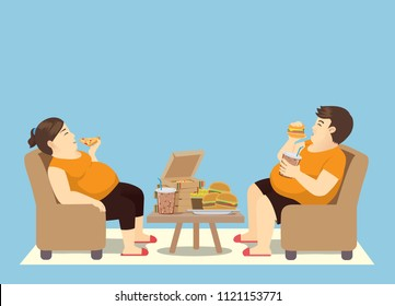 Fat man and woman with many fast food on the table. Illustration about  binge eating.
