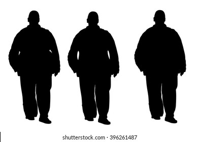 Fat man is worry about health,  vector silhouette isolated on white background. Overweight person trouble with walking. Big boy think about food calorie.