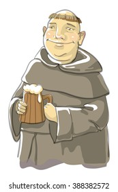 fat monk with a large mug of beer