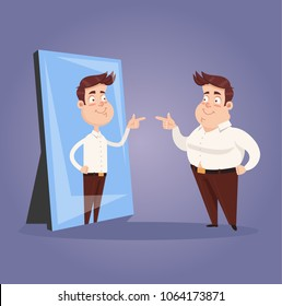 Fat narcissist positive confident office worker businessman character looking at mirror and see slim attractive sporty athlete thin man in reflection. Motivation dream goal hope transformation