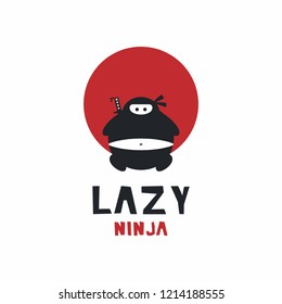 Fat ninjas show the meaning of lazy ninjas. this is suitable for the restaurant logo in Japan or in Japanese nuances
