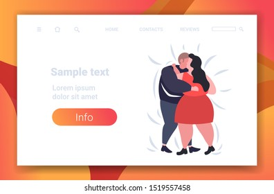 fat obese couple dancing together overweight man woman embracing weight loss obesity concept flat full length horizontal copy space