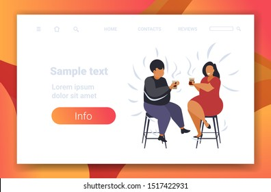 fat obese couple drinking coffee discussing during meeting african american man woman having fun obesity concept flat full length horizontal copy space