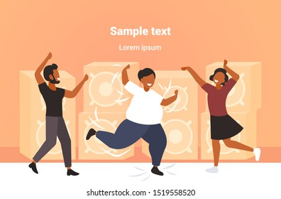 fat obese man dancing on dance floor with african american people on disco party weight loss concept modern night club interior flat full length horizontal copy space