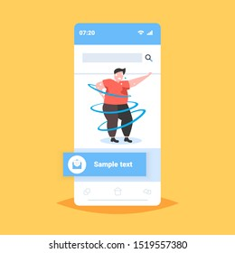 fat obese man dancing pose overweight sweaty guy cardio training weight loss concept smartphone screen online mobile app flat full length