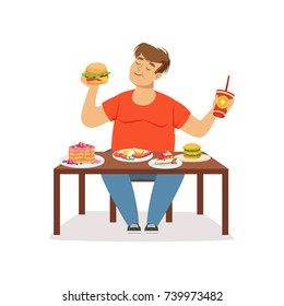 Fat obese man eating fast food, bad habit vector Illustration