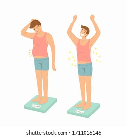 fat obese man and healthy slim man on scales / before and after diet and weight loss illustration