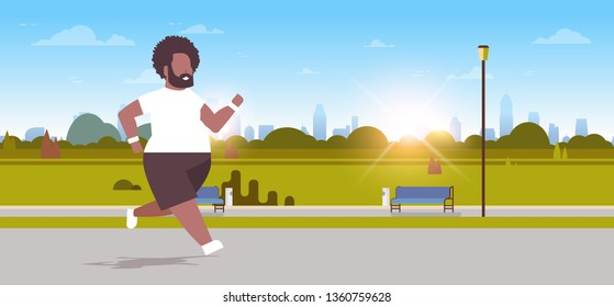 fat obese man running overweight african american guy jogging outdoor city urban park weight loss concept male character full length horizontal sunrise landscape background flat