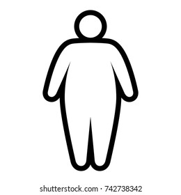 Fat / obese person facing obesity epidemic line art vector icon for apps and websites