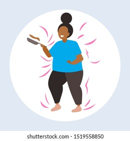 fat obese woman cooking pancakes in frying pan unhealthy nutrition obesity concept overweight african american girl preparing breakfast flat full length