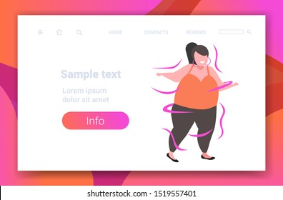 fat obese woman dancing female dancer overweight girl having fun weight loss obesity concept flat full length copy space horizontal