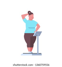 fat obese woman standing on weigh scales over size fatty girl obesity weight control concept overweight female cartoon character full length white background