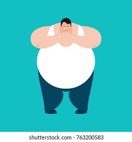 Fat OMG scared. Stout guy Oh my God emoji. Frightened big man. Vector illustration