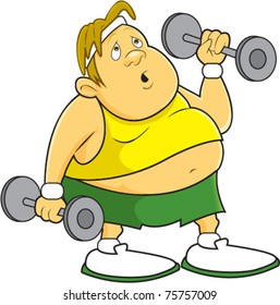 A fat, overweight man doing dumbbell curls while working out at the gym