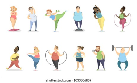Fat people exercising on white with equipment.