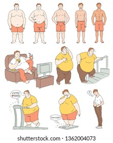 Fat person weight loss comparison, exercise and diet process drawing, fitness progress and body change through different activities, health success and slim waist - vector illustration.