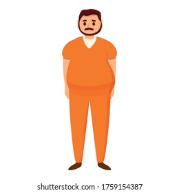 Fat prison man icon. Cartoon of fat prison man vector icon for web design isolated on white background
