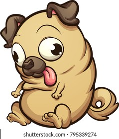 Fat pug dog looking down. Vector clip art illustration with simple gradients. All in a single layer.