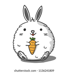 Fat rabbits are carrying carrot.. Doodle draw by hand on tablet. Vector illustration.
