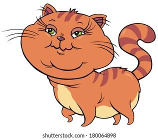 Fat Red Cat - Cartoon Illustration