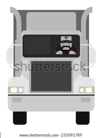 4816f4a2 Fat round flat cartoon style black beard truck driver. In trucker cap  sitting inside big