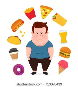 Fat sad young man surrounded by unhealthy food.Vector modern flat style cartoon character illustration. Isolated on white background. Fast food concept,burger,beer,coffee,hot dog,donut,ice cream