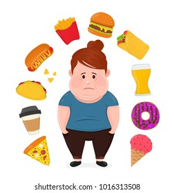 Fat sad young woman surrounded by unhealthy food.Vector modern flat style cartoon character illustration. Isolated on white background. Fast food concept,burger,beer,coffee,hot dog,donut,ice cream