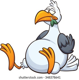 Fat seagull eating a fish. Vector clip art illustration with simple gradients. All in a single layer.