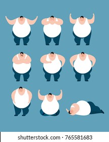 Fat set poses and motion. Stout guy happy and yoga. Big man sleeping and angry. guilty and sad. Vector illustration