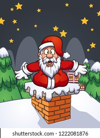 Fat shocked cartoon Santa Claus stock in chimney.  Vector clip art illustration with simple gradients. Some elements on separate layers.