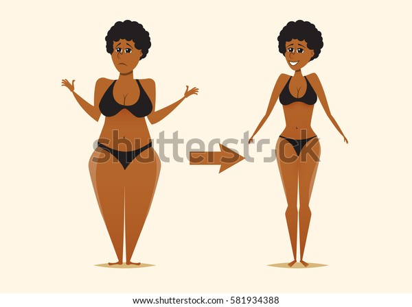 Fat Skinny Black Womanbefore After Dietcartoon Stock Vector Royalty Free 581934388