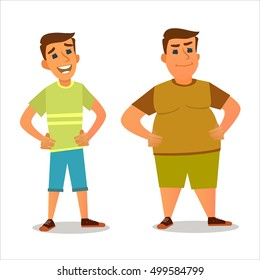 Fat and a Skinny Boy. Vector illustration of a flat design.