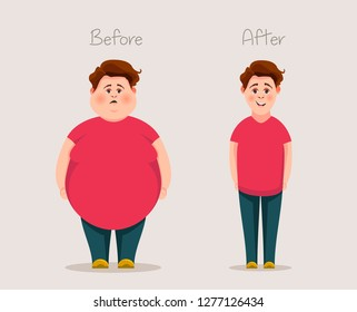 Fat and skinny guys. Concept of weight. Before and after. Vector illustration.