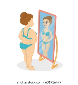 Fat and skinny woman in the mirrors. Concept of anorexia and bulimia.