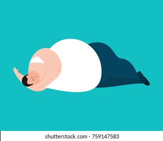 Fat sleeping. Stout guy asleep emoji. Vector illustration