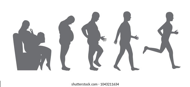 fat to slim body vector / diet concept / weight loss
