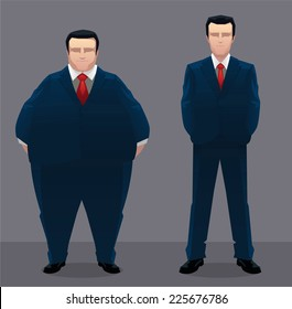 Fat & slim businessman vector illustration.
